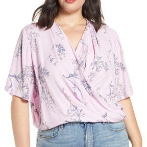 Leith Faux Wrap Lilac Floral Blouse sz Small NWT